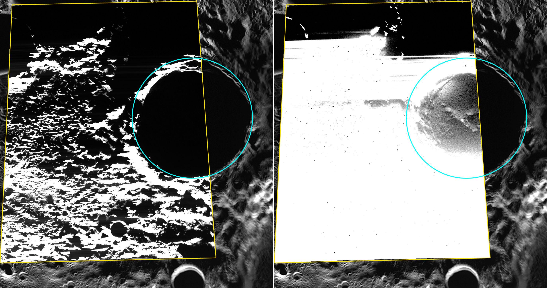 Землей получены первые снимки полярных отложений на Меркурии (2 фото)