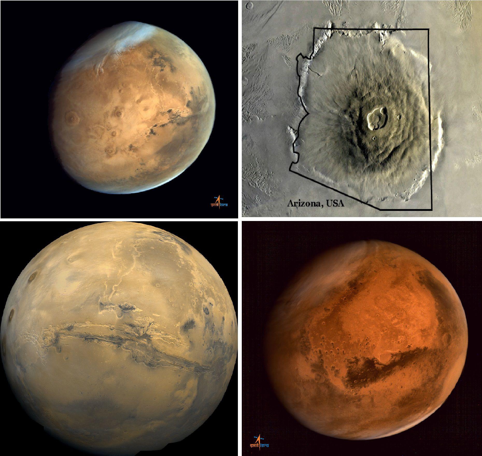 Крупнейший вулкан на Марсе  сфотографировал аппарат МОМ (2 фото)