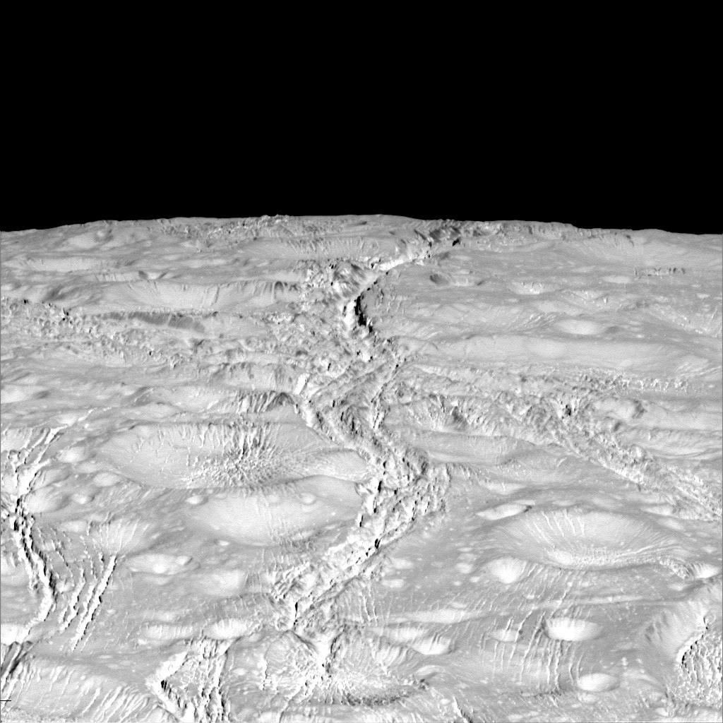 Снимки: Крупные планы северной части спутника Сатурна Энцелада
